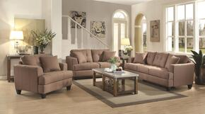 Samuel Sofa Collection 5051713PC 3-Piece Living Room Set with Sofa, Love Seat and Chair in Light Mocha Fabric Upholstery