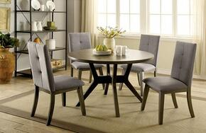 Abelone Collection CM3354GYRT4SC 5-Piece Dining Room Set with Round Table and 4 Side Chairs in Gray