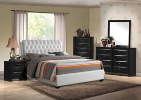 Ireland 25347EK5PC Bedroom Set with Eastern King Size Bed + Dresser + Mirror + Chest + Nightstand in White Color
