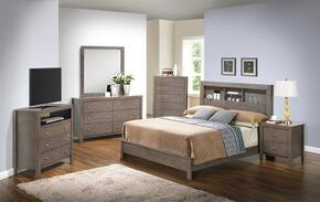 G2405B Collection G2405BKB2SET 6 PC Bedroom Set with King Size Bed + Dresser + Mirror + Chest + Nightstand + Media Chest in Grey Finish