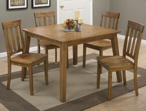 Simplicity Collection 352425SET 5 PC Dining Room Set with Square Dining Table + 4 Slat Back Chairs in Honey Finish