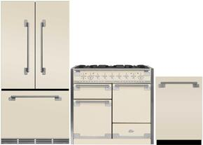 "3-Piece Ivory Kitchen Package with MELFDR23IVY 36"" French Door Refrigerator, AEL48DFIVY 48"" Freestanding Dual-Fuel Range, and AELTTDWIVY 24"" Fully Integrated Dishwasher"