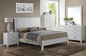 G1275ATBDMN 4 Piece Set including Twin Size Bed, Dresser, Mirror and Nightstand  in White