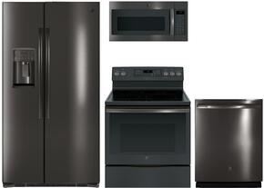 "4-Piece Black Stainless Steel Kitchen Package with GSE25HBLTS 36"" Side by Side Refrigerator, JB750BJTS 30"" Freestanding Electric Range, JVM7195BLTS 30"" Over the Range Microwave, and GDT655SBLTS 24"" Fully Integrated Dishwasher"