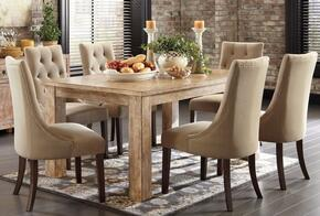 D540225202 Mestler Driftwood Rectangular Dining Room Table with Four Upholstered Side Chairs, Pine Veneers and Solids in Bisque