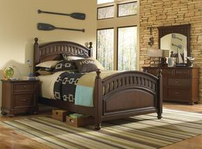 Expedition 84686323301SETB 4 PC Bedroom Set with Full Size Poster Bed + Dresser + Mirror + Nightstand in Cherry Finish