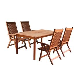 V98SET20 Outdoor Wood Balthazar Rectangular Table and 4 V145 Outdoor Wood Reclining Chairs