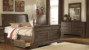 Allymore Queen Bedroom Set with Sleigh Bed, Dresser, Mirror and Chest in Aged Brown