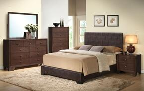 Ireland III Collection 14375FDMCN 5 PC Bedroom Set with Full Size Bed + Dresser + Mirror + Chest + Nightstand in Brown Color