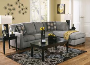 Zella 70200RCHSS3TR2L 7-Piece Living Room Set with Right Chaise Sectional, 3PC Table Set, Rug and 2 Lamps in Charcoal