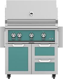 "36"" Freestanding Natural Gas Grill with GCR36TQ Tower Grill Cart with Double Drawer and Door Combo, in Bora Bora Turquoise"