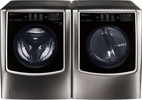 Black Stainless Steel Front Load Laundry Pair with WM9500HKA Washer and DLEX9500K Electric Dryer