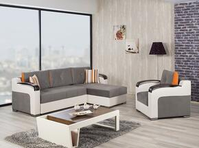 Divan Deluxe DIDESECACGG Package Containing Sectional and Armchair with Pillows, Storage Under the Seats, Stitched Detailing, Curved Arms and Block Feet with Woodlike and Stainless Steel Accents: Golf Gray