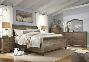 Trishley California King Bedroom Set with Sleigh Bed, Dresser, Mirror and Nightstand in Light Brown