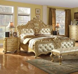 Zelda Collection ZELDAQPBBEDROOMSET 2-Piece Bedroom Set with Queen Panel Bed and Single Nightstand in Gold