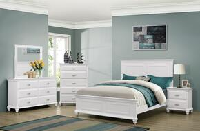 1009-5052/68SQ Cape Cod Bedroom Set Including Queen Size Bed,  Dresser, Mirror, Chest and Nightstand with Molding Detail, Block Feet, Turned and Bun Feet in White