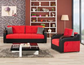 DIDESBCHTR Divan Deluxe Sofabed and Chair with Pillows, Stitched Detailing, Curved Arms and Block Feet with Woodlike and Stainless Steel Accents: Truva Red