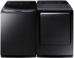 "Black Stainless Steel Laundry Pair with WA52M8650AV 27"" Washer (5.3 cu. ft. Capacity) and DVE52M8650V 27"" Electric Dryer (7.4 cu. ft. Capacity)"