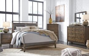 Larsen Collection California King Bedroom Set with Panel Bed, Dresser, Mirror, 2x Nightstands and Chest in Brown