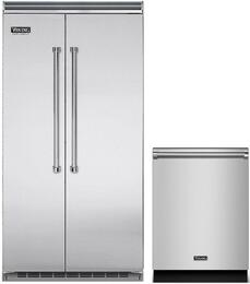 """2-Piece Stainless Steel Kitchen Package with VCSB5423SS 42"""" Side-by-Side Refrigerator and VDW302SS 24"""" Fully Integrated Dishwasher"""