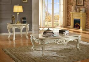 Grace 287CE 2 PC Living Room Table Set with Coffee Table + End Table in White Finish