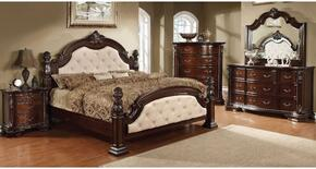 Monte Vista I Collection CM7296LAKDMCN 5-Piece Bedroom Set with Queen Bed, Dresser, Mirror, Chest and Nightstand in Brown Cherry Finish