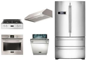 """5-Piece Stainless Steel Kitchen Package with FM36CDFDS1 36"""" French Door Refrigerator, F6GRT304S1 30"""" Gas Rangetop, F4UC30S1 30"""" Range Hood and F6PSP30S1 30"""" Single Wall Oven and F6PDW24SS1 24"""" Dishwasher"""
