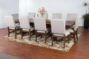 Savannah Collection 1383ACDT10C 11-Piece Dining Room Set with Dining Table and 10 Chairs in Antique Charcoal Finish