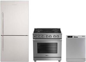 "3-Piece Kitchen Package with BRFB1812SSN 30"" Bottom Freezer Refrigerator, BDFP34550SS 30"" Freestanding Dual Fuel Range, and a free DW25502SS 24"" Built In Full Console Dishwasher in Stainless Steel"