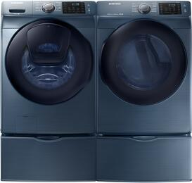 "Azure Front Load Laundry Pair with WF45K6200AZ 27"" Washer, DV45K6200EZ 27"" Electric Dryer and 2 WE357A0Z Pedestals"
