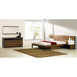 VGWCRONDOQ5PCSET Rondo Collection 5 Piece Bedroom Set With Queen Size Platform Bed + 2 Nightstands + Dresser + Mirror: Brown