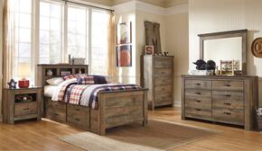 Trinell Twin Bedroom Set with Bookcase Bed with Trundle, Dresser, Mirror and Nightstand in Brown