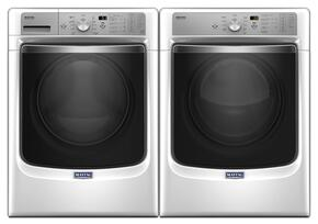 "White Front Load Laundry Pair with MHW8200FW 27"" Washer and MGD8200FW 27"" Gas Dryer"