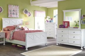 Kaslyn Full Bedroom Set with Panel Bed, Dresser, Mirror and Chest in White