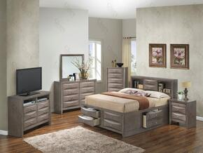 G1505GKSB3NTV2 3 Piece Set including  King Size Bed, Nightstand and Media Chest  in Gray