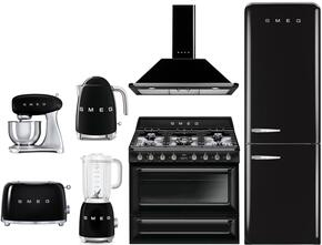 "7-Piece Black Kitchen Package with FAB32RNEN1 24"" Bottom Freezer Refrigerator, TRU90BL 36"" Dual Fuel Range, KT90PUN 36"" Range Hood, SMF01BLUS Stand Mixer, BLF01BLUS Blender, TSF01BLUS Toaster and KLF01BLUS Electric Kettle"