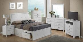 G1275BQSBDMNTV 5 Piece Set including Queen Size Bed, Dresser, Mirror, Nightstand and Media Chest in White