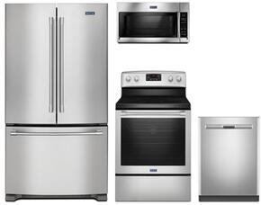 "4-Piece Kitchen Package with MFC2062FEZ 36"" French Door Refrigerator, MER8650FZ 30"" Electric Freestanding Range, MDB8959SFZ 24"" Built in Dishwasher and MMV4206FZ 30"" Over The Range Microwave oven in Stainless Steel"