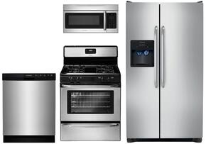 "4 Piece Stainless Steel Kitchen Package with FFGF3047LS 30"" Gas Freestanding Range, FFSS2614QS 36"" Side by Side Refrigerator, FFMV164LS Over the Range Microwave and FFBD2412SS 24"" Built in Dishwasher"