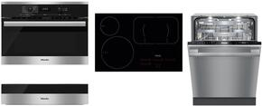 "4-Piece Kitchen Package with H6100BM 24"" Speed Oven, KM6365 30"" Electric Smoothtop Style Cooktop, G6785SCVISF 24"" Built In Fully Integrated Dishwasher, and ESW6114 24"" Warming Drawer in Stainless Steel"