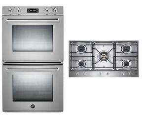 "Professional 2-Piece Stainless Steel Kitchen Package with FD30PROXT 30"" Double Electric Wall Oven and PM36500X 36"" Gas Cooktop"