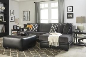 Kumasi 32202RSSO 2-Piece Living Room Set with Right Arm Facing Chaise Sectional and Oversized Ottoman in Black