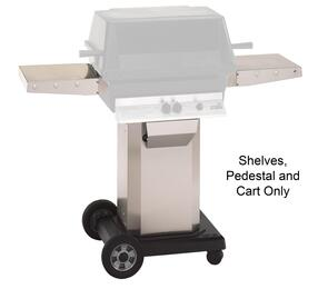 ASPEDANCASHELFUNIV Mounting Kit with Stainless Steel Pedestal, Portable Cart Base for Natural Gas Grill and 1x Extra Side Shelf