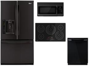 "4 Piece Black Kitchen Package With LCE3610SB 36"" Electric Cooktop, LMV1683SB 30"" Over The Range Microwave, LFX25974SB 36"" French Door Refrigerator and LDF7774BB 24"" Fully Integrated Dishwasher"