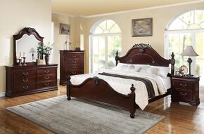 21854CK5PCSET Gwyneth Cal King Size Bed + Dresser + Mirror + Chest + Nightstand in Cherry Finish