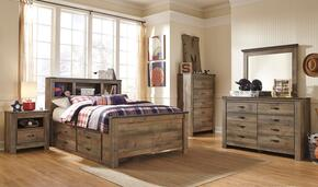 Trinell Full Bedroom Set with Bookcase Bed with Trundle, Dresser, Mirror, 2 Nightstands and Chest in Brown