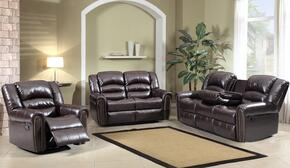 Chelesa 684-S-L-C 3 Piece Living Room Set with Sofa + Loveseat and Chair in Brown