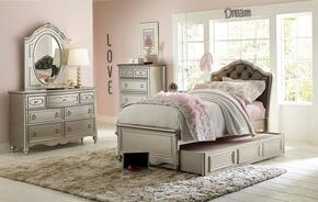 Sterling 84716373801TSET 5 PC Bedroom Set with Full Size Panel Bed + Trundle Storage Unit + Dresser + Mirror + Chest in Metallic Silver Color