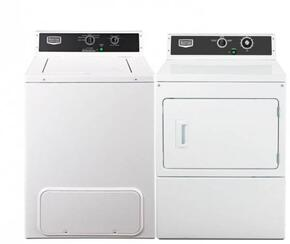 """2 Piece Laundry Pair with MVW18MNBWW 27"""" Top Load Washer and MDG18MNAWW 27"""" Gas Dryer in White"""