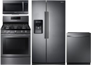 "4 Piece Kitchen Package With NX58J5600SG 30"" Gas Range, ME18H704SFG Over the Range Microwave Oven, RS25J500DSG 36"" Side By Side Refrigerator and DW80K7050UG 24"" Built In Dishwasher In Black Stainless Steel"